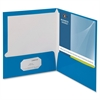 "Business Source Two-Pocket Folders with Business Card Holder - Letter - 8 1/2"" x 11"" Sheet Size - 100 Sheet Capacity - 2 Internal Pocket(s) - Blue - 25 / Box"
