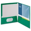 "Business Source Two-Pocket Folders with Business Card Holder - Letter - 8 1/2"" x 11"" Sheet Size - 100 Sheet Capacity - 2 Internal Pocket(s) - Card Paper - Green - 25 / Box"