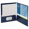 "Business Source Two-Pocket Folders with Business Card Holder - Letter - 8 1/2"" x 11"" Sheet Size - 100 Sheet Capacity - 2 Internal Pocket(s) - Card Paper - Navy - 25 / Box"
