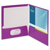 "Business Source Two-Pocket Folders with Business Card Holder - Letter - 8 1/2"" x 11"" Sheet Size - 100 Sheet Capacity - 2 Internal Pocket(s) - Card Paper - Purple - 25 / Box"