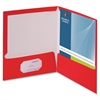 "Two-Pocket Folders with Business Card Holder - Letter - 8 1/2"" x 11"" Sheet Size - 100 Sheet Capacity - 2 Internal Pocket(s) - Card Paper - Red - 25 / Box"