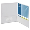 "Business Source Two-Pocket Folders with Business Card Holder - Letter - 8 1/2"" x 11"" Sheet Size - 100 Sheet Capacity - 2 Internal Pocket(s) - White - 25 / Box"