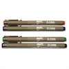 Disposable Technical Drawing Pens - 0.1 mm Point Size - Black, Blue, Red, Green Water Based Ink - 4 / Pack