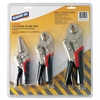 Genuine Joe 3 Piece Locking Plier Set - Black, Silver - Carbon Steel - Heat Treated - 3 / Each