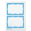 "Baumgartens Self-adhesive Visitor Badge - 100 / Box - 3.5"" Width x 2.3"" Height - Self-adhesive, Removable, Easy Peel - White, Blue"