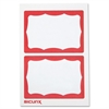 "Baumgartens Self-adhesive Visitor Badge - 100 / Box - 3.5"" Width x 2.3"" Height - Self-adhesive, Removable - White, Red"