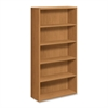 "Laminate Harvest Bookcases - 36"" x 13.1"" x 71"" - 5 x Shelf(ves) - 390 lb Load Capacity - Double Radius Edge, Durable, Stain Resistant, Scratch Resistant - Harvest - Laminate - Wood - Recycled"