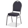 "Upholstered Cushion Stacking Chairs - Fabric Seat - Steel Frame - Four-legged Base - Silver, Blue - 15.90"" Seat Depth - 22"" Width x 18"" Depth x 35.5"" Height"