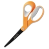 "Fiskars Non-Stick Titanium Softgrip Scissors (8"") - 8"" Overall Length - Bent - Orange, Gray"