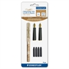 Calligraphy Set - Fine, Broad Pen Point Type - Black Water Based Ink - Marble Assorted Barrel - 2 / Set