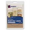"Avery Removable Multi-Use Labels 40151, Kraft Brown, 1-1/8"" x 2-1/4"", Pack of 24 - Removable Adhesive - 1.13"" Width x 2.25"" Length - 4 / Sheet - Oval - Inkjet, Laser - Kraft - 24 / Pack"