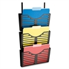 Plastic Hanging Triple Pocket File Set - 3 Pocket(s) - Wall Mountable - Black - Plastic - 1Each
