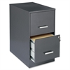 "Lorell SOHO 22"" 2-Drawer File Cabinet - 14.3"" x 22"" x 26.7"" - 2 x Drawer(s) for File - Locking Drawer, Pull Handle, Glide Suspension - Dark Gray, Chrome - Baked Enamel - Steel - Recycled - Assembly Re"