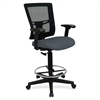 "Lorell Breathable Mesh Drafting Stool - Gray Seat - 5-star Base - Gray - 25"" Width x 15"" Depth x 27"" Height"