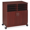 "Lorell 2-Door Mobile Machine Stand w/Sorter - 30.8"" Height x 28"" Width x 19.3"" Depth - Mahogany - Laminated Particleboard - Mahogany"