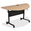 "Lorell Flipper Half Round Training Table - Half-round Top - 48"" Table Top Length x 24"" Table Top Width x 1"" Table Top Thickness - 29"" Height - Assembly Required"