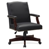 "Lorell Traditional Executive Bonded Leather Chair - Bonded Leather Black Seat - Bonded Leather Black Back - 5-star Base - 27.3"" Width x 32.5"" Depth x 42.8"" Height"