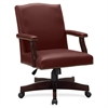 "Lorell Traditional Executive Bonded Leather Chair - Bonded Leather Burgundy Seat - Bonded Leather Burgundy Back - 5-star Base - 27.3"" Width x 32.5"" Depth x 42.8"" Height"