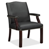 "Lorell Bonded Leather Guest Chair - Bonded Leather Black Seat - Bonded Leather Black Back - Four-legged Base - Black - 25"" Width x 27.5"" Depth x 35.8"" Height"