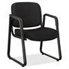 "Lorell Black Fabric Guest Chair - Fabric Black, Plywood Seat - Fabric Black, Plywood Back - Metal Frame - Sled Base - Black - 26"" Width x 24.8"" Depth x 33.5"" Height"