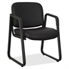 "Lorell Black Leather Guest Chair - Leather Black, Plywood Seat - Leather Black, Plywood Back - Metal Frame - Black - 26"" Width x 24.8"" Depth x 33.5"" Height"
