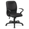 "Lorell Executive Mid-Back Fabric Contour Chair - Fabric Black Seat - Fabric Black Back - 5-star Base - Black - 28"" Width x 27"" Depth x 42"" Height"