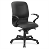 "Lorell Executive Mid-Back Fabric Contour Chair - Bonded Leather Black, Polyvinyl Chloride (PVC) Seat - Leather Black, Bonded Leather Back - 5-star Base - 28"" Width x 27"" Depth x 42"" Height"