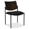 "Armless Guest Chair - Vinyl Black Seat - Wood Espresso, Plywood Back - Steel Frame - 15.50"" Seat Width x 17.50"" Seat Depth - 19"" Width x 18.5"" Depth x 31.5"" Height"