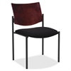 "Lorell Guest Chair w/Arms - Vinyl Black Seat - Wood Mahogany, Plywood Back - Steel Frame - 15.50"" Seat Width x 17.50"" Seat Depth - 23"" Width x 18.5"" Depth x 13.5"" Height"
