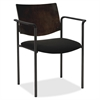 "Lorell Guest Chair with Arms - Vinyl Black Seat - Wood Espresso, Plywood Back - Steel Frame - Espresso - 15.50"" Seat Width x 17.50"" Seat Depth - 23"" Width x 18.5"" Depth x 13.5"" Height"
