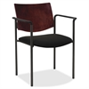 "Guest Chair with Arms - Vinyl Black Seat - Wood Mahogany, Plywood Back - Steel Frame - Mahogany - 15.50"" Seat Width x 17.50"" Seat Depth - 23"" Width x 18.5"" Depth x 13.5"" Height"