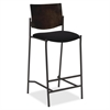 "Lorell Cafe Barstool - Vinyl Black Seat - Wood Espresso, Plywood Back - Steel Frame - Espresso - 17.50"" Seat Width - 22"" Width x 19"" Depth x 45"" Height"