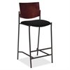 "Lorell Cafe Barstool - Vinyl Black Seat - Wood Mahogany, Plywood Back - Steel Frame - Mahogany - 17.50"" Seat Width - 22"" Width x 19"" Depth x 45"" Height"