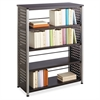 "Scoot Contemporary Design Bookcase - 36"" x 15.5"" x 47"" - 4 Shelve(s) - Material: Steel, Particleboard - Finish: Black, Laminate, Powder Coated"