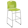 "Safco Vy Sled Base Bistro Chair - Plastic Grass Green Seat - Plastic Grass Green Back - Steel Powder Coated Frame - Sled Base - Grass Green - 18"" Width x 22"" Depth x 45"" Height"