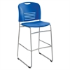 "Vy Sled Base Bistro Chair - Plastic Lapis Seat - Plastic Lapis Back - Steel Powder Coated Frame - Sled Base - Blue - 18"" Width x 22"" Depth x 45"" Height"