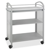 "Impromptu Open Beverage Cart - 4 Casters - Polycarbonate - 34"" Width x 19.5"" Depth x 36.5"" Height - Metallic Gray Steel Frame - Gray"