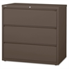 "Lorell Medium Tone Lateral File - 42"" x 18.6"" x 40.3"" - 3 x Drawer(s) for File - A4, Legal, Letter - Lateral - Magnetic Label Holder, Locking Drawer, Pull-out Drawer, Ball Bearing Slide, Reinforced Ba"