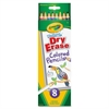 Crayola Washable Dry-erase Colored Pencils - Red, Orange, Yellow, Green, Blue, Violet, Brown, Black Lead - 8 / Box