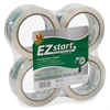 "EZ Start Crystal Clear Packaging Tape - 1.88"" Width x 54.60 yd Length - 3"" Core - Acrylic - Yellowing Resistant - 4 / Pack - Crystal Clear"