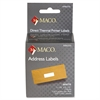 "MACO Direct Thermal White Address Labels - Permanent Adhesive - ""1.13"" Width x 3.50"" Length - 130 / Roll - Direct Thermal - Bright White - 260 / Box"