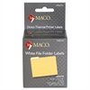 "MACO Direct Thermal White File Folder Labels - Permanent Adhesive - ""0.56"" Width x 3.44"" Length - 130 / Roll - Direct Thermal - Bright White - 260 / Box"