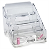 "OIC Breast Cancer Awareness Business Card Holder - 4"" x 3.8"" x 4"" - Plastic - 1 Each - Clear"