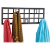 "Steel Grid Coat Rack - 5 x Coat - 6.8"" Height x 21.5"" Width x 2.3"" Depth - Wall Mountable - Black - Steel - 1Each"