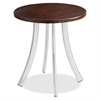 "Decori Wood Side Table, Short - Round Top - Curved Base - 4 Legs - 0.62"" Table Top Thickness x 15.75"" Table Top Diameter - 18.75"" Height - Assembly Required - Silver"
