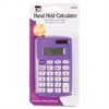 8-Digit Hand Held Calculator - Dual Power, Non-slip Rubber Key - 8 Digits - Battery Powered - Assorted - 12 / Display Box