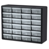 "Akro-Mils 24-Drawer Plastic Storage Cabinet - 24 Drawer(s) - 15.8"" Height x 6.4"" Depth - Floor, Wall Mountable - Black, Clear - Plastic, Polymer - 1Each"