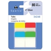 "Sparco 1"" Durable Tabs - Write-on Tab(s) - Assorted Tab(s) - 80 / Pack"
