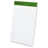 "TOPS Recycled Perforated Jr. Legal Rule Pads - 50 Sheets - Printed - 15 lb Basis Weight - 5"" x 8"" - 1Dozen"