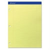 """Ampad Perforated 3HP Ruled Double Sheet Pads - 100 Sheets - Printed - 15 lb Basis Weight - Letter 8.50"""" x 11"""" - Canary Yellow Paper - 100 / Pad"""